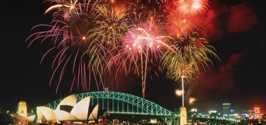 Fireworks above the Opera House and Harbour Bridge, Sydney, Australia